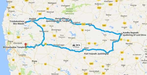 Jyotirlinga in Maharashtra Map
